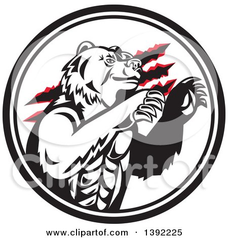 Clipart of a Retro California Grizzly Bear Attacking in a Black and White Circle - Royalty Free Vector Illustration by patrimonio