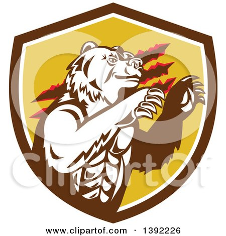 Clipart of a Retro California Grizzly Bear Attacking in a Brown White and Yellow Shield - Royalty Free Vector Illustration by patrimonio