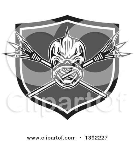 Clipart of a Retro Tribal Skull of Dorado Dolphin Fish Mahi-mahi over Crossed Primitive Spears in a Black White and Gray Shield - Royalty Free Vector Illustration by patrimonio