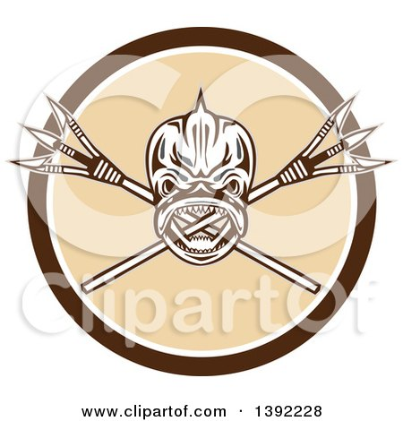 Clipart of a Retro Tribal Skull of Dorado Dolphin Fish Mahi-mahi over Crossed Primitive Spears in a Brown White and Beige Circle - Royalty Free Vector Illustration by patrimonio