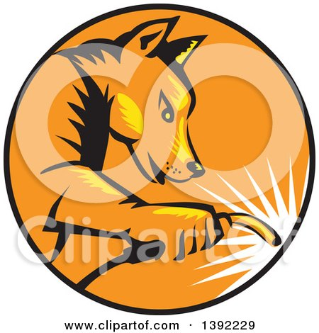 Clipart of a Retro Woodcut Dingo Dog Welder in a Black Orange and Yellow Circle - Royalty Free Vector Illustration by patrimonio