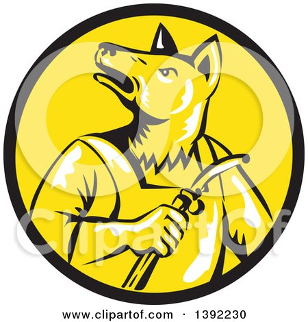 Clipart of a Retro Woodcut Dingo Dog Welder in a Black and Yellow Circle - Royalty Free Vector Illustration by patrimonio