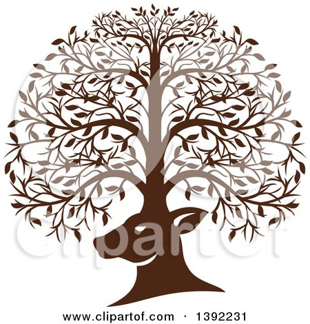 Clipart Of A Retro Brown Deer Head With His Antlers Forming A Tree Royalty Free Vector Illustration