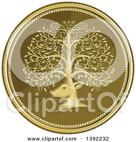 Clipart of a Retro Coin of a Deer Head with His Antlers Forming a Tree - Royalty Free Vector Illustration by patrimonio