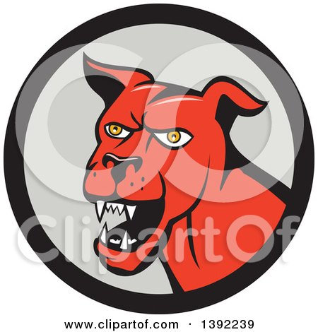 Clipart of a Cartoon Angry Red Guard Dog in a Black and Gray Circle - Royalty Free Vector Illustration by patrimonio
