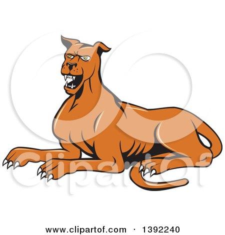 Clipart of a Cartoon Angry Mastiff Dog Barking - Royalty Free Vector Illustration by patrimonio