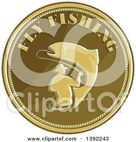 Clipart of a Retro Coin of a Fly Fisherman and Trout - Royalty Free Vector Illustration by patrimonio