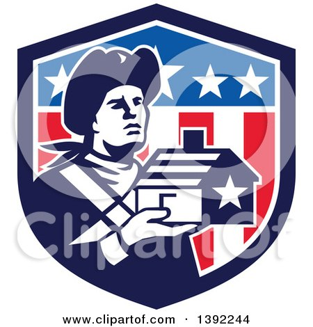 Clipart of a Retro Male Patriot Soldier Holding a Home in an American Shield - Royalty Free Vector Illustration by patrimonio