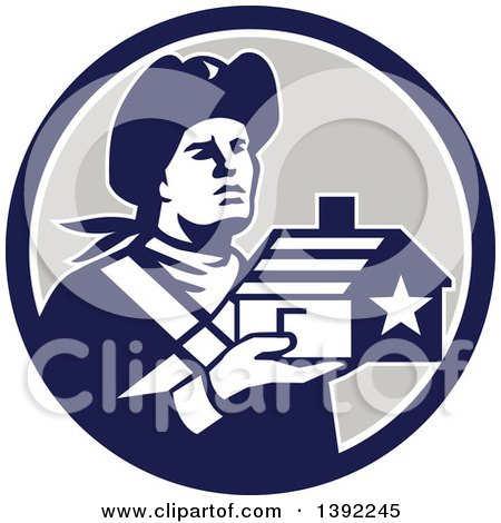 Clipart of a Retro Male American Patriot Soldier Holding a Home in a Blue White and Gray Circle - Royalty Free Vector Illustration by patrimonio