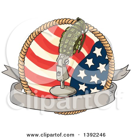 Clipart of a Retro Sketched World War Two Grenade Mounted on a Microphone Stand over a Blank Banner, American Flag and Rope - Royalty Free Vector Illustration by patrimonio