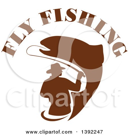 Clipart of a Retro Brown Silhouetted Fly Fisherman and Trout Fish Under Text - Royalty Free Vector Illustration by patrimonio