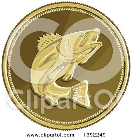Clipart of a Retro Coin of a Barramundi Asian Sea Bass Fish - Royalty Free Vector Illustration by patrimonio