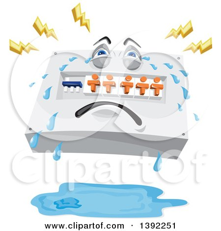 Cartoon Switchboard Crying, with Lightning Bolts over a Pool of Water Posters, Art Prints
