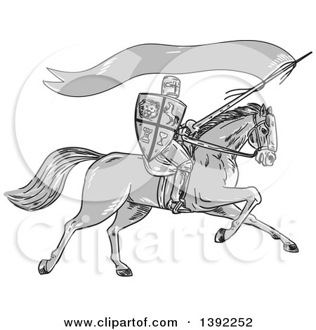 Clipart of a Retro Sketched Grayscale Horseback Knight Holding a Lance, Shield and Flag - Royalty Free Vector Illustration by patrimonio