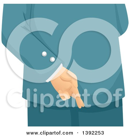 Clipart of a Business Man Crossing His Fingers Behind His Back - Royalty Free Vector Illustration by BNP Design Studio