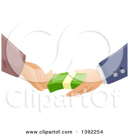 Clipart of Rich and Poor Hands Exchanging Cash Money - Royalty Free Vector Illustration by BNP Design Studio
