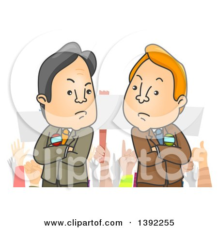 Clipart of Cartoon Male Politicians with Folded Arms in Front of a Crowd - Royalty Free Vector Illustration by BNP Design Studio
