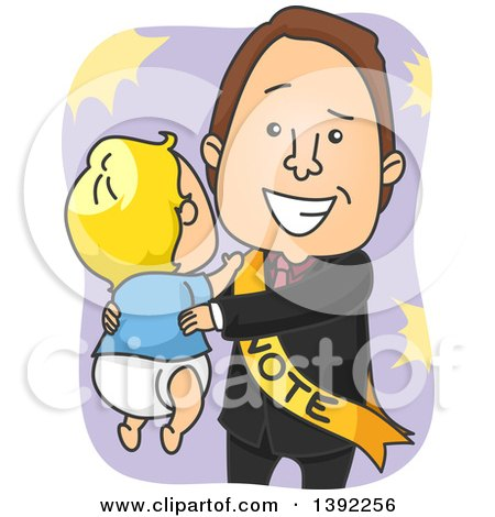 Clipart of a Happy White Male Politician Holding a Baby - Royalty Free Vector Illustration by BNP Design Studio
