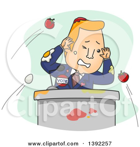 Clipart of a Cartoon Male Politician Getting Hit with Eggs and Tomatoes During a Speech - Royalty Free Vector Illustration by BNP Design Studio