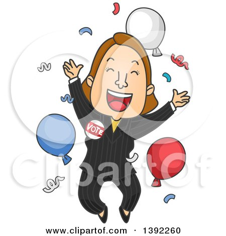 Clipart of a Cartoon Caucasian Female Politician Jumping After a Win - Royalty Free Vector Illustration by BNP Design Studio