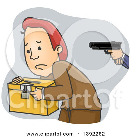 Clipart of a Cartoon Caucasian Man Being Held at Gunpoint and Carrying a Ballot Box - Royalty Free Vector Illustration by BNP Design Studio