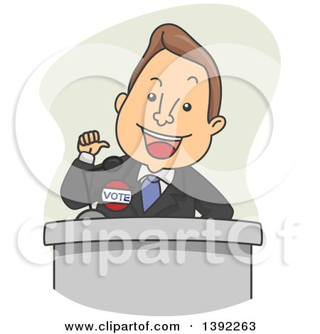 Clipart of a Cartoon White Male Politician Giving a Speech - Royalty Free Vector Illustration by BNP Design Studio