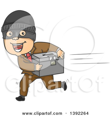 Clipart of a Cartoon White Man Running Away with a Ballot Box - Royalty Free Vector Illustration by BNP Design Studio