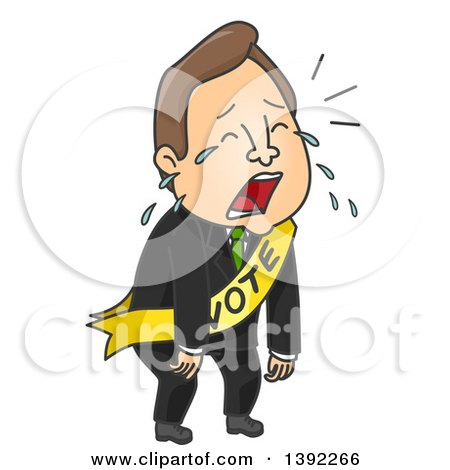 Clipart of a Cartoon Brunette White Male Politician Crying After a Loss - Royalty Free Vector Illustration by BNP Design Studio