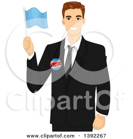 Clipart of a Brunette White Male Politician Holding a Flag - Royalty Free Vector Illustration by BNP Design Studio