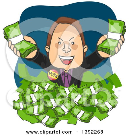 Clipart of a Cartoon White Male Politician Drowning in Money - Royalty Free Vector Illustration by BNP Design Studio
