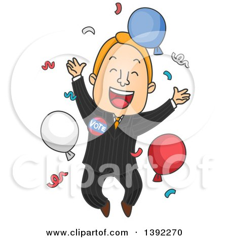 Clipart of a Cartoon Happy White Male Politician Celebrating a Win - Royalty Free Vector Illustration by BNP Design Studio