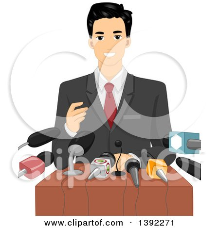 Clipart of a Male Politician Giving a Speech to a Crowd of Journalists - Royalty Free Vector Illustration by BNP Design Studio