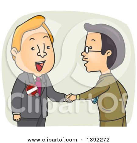 Clipart of a Cartoon Male Politician Shaking Hands with a Competitor - Royalty Free Vector Illustration by BNP Design Studio