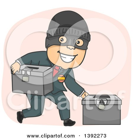Clipart of a Cartoon Masked Criminal Politician Stealing Ballot Boxes - Royalty Free Vector Illustration by BNP Design Studio
