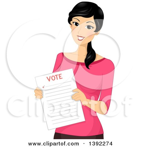 Clipart of a Happy Woman Holding a Voter Ballot - Royalty Free Vector Illustration by BNP Design Studio