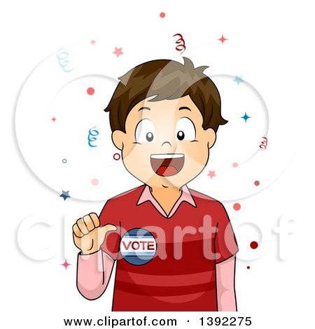 Clipart of a Brunette White Boy Wearing a Vote Badge - Royalty Free Vector Illustration by BNP Design Studio