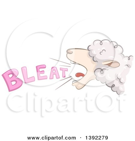 Clipart of a Bleating Sheep - Royalty Free Vector Illustration by BNP Design Studio