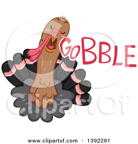 Clipart of a Turkey Making a Gobble Noise - Royalty Free Vector Illustration by BNP Design Studio