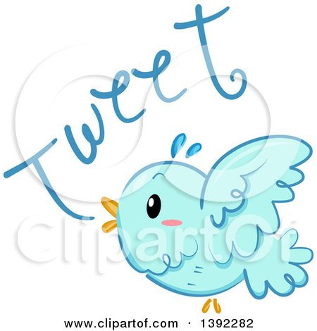 Clipart of a Blue Bird Tweeting - Royalty Free Vector Illustration by BNP Design Studio