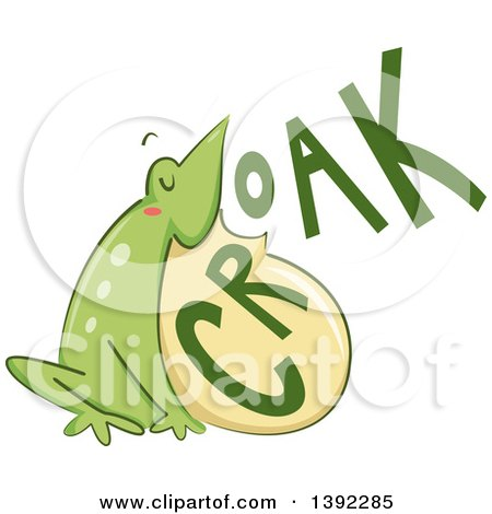 Clipart of a Croaking Bull Frog - Royalty Free Vector Illustration by BNP Design Studio