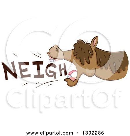 Clipart of a Neighing Horse - Royalty Free Vector Illustration by BNP Design Studio