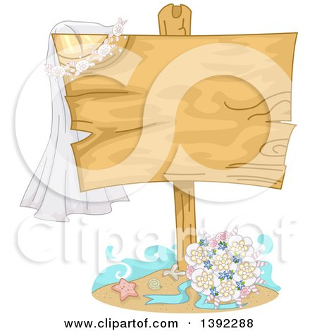 Clipart of a Wedding Bouquet and Shells Under a Blank Wood Sign with a Veil - Royalty Free Vector Illustration by BNP Design Studio