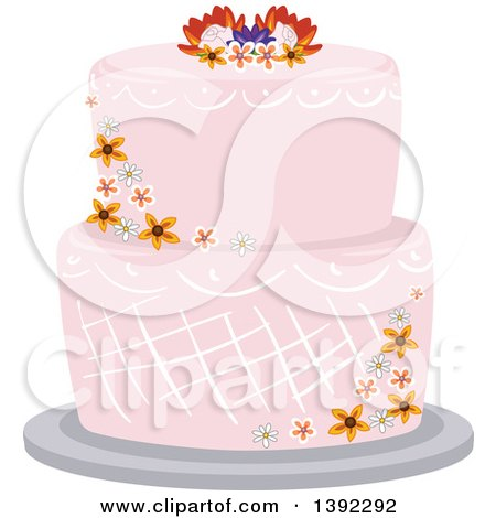 Clipart of a Garden Themed Wedding Cake with Flowers - Royalty Free Vector Illustration by BNP Design Studio