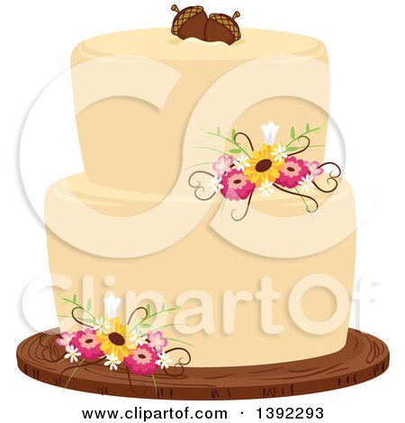 Clipart of a Rustic Themed Wedding Cake with Flowers and Acorns - Royalty Free Vector Illustration by BNP Design Studio