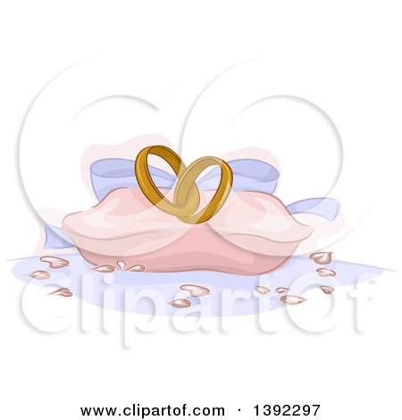 Clipart of a Pillow with Wedding Rings - Royalty Free Vector Illustration by BNP Design Studio