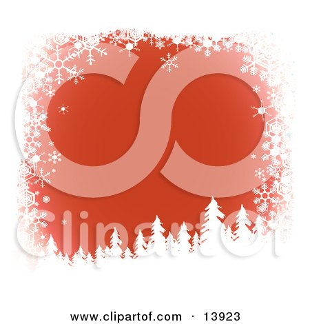 Snow Flocked Tree Silhouettes Over a Red Wintry Background Bordered by White Snowflakes Clipart Illustration by Rasmussen Images