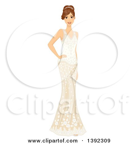 Clipart of a Brunette White Bride Posing in a Wedding Gown - Royalty Free Vector Illustration by BNP Design Studio