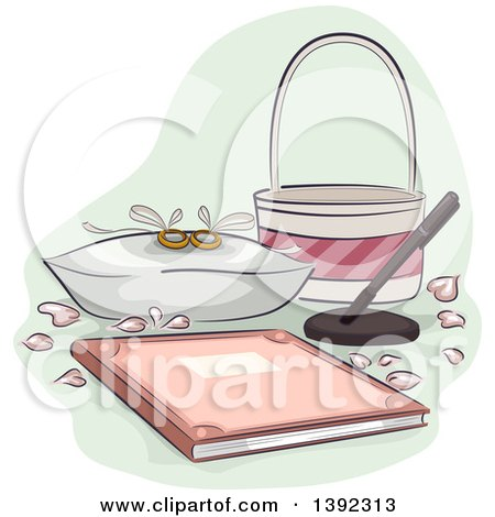 Clipart of a Pair of Wedding Rings, a Bridal Registry Book, Basket, Petals and Pen - Royalty Free Vector Illustration by BNP Design Studio