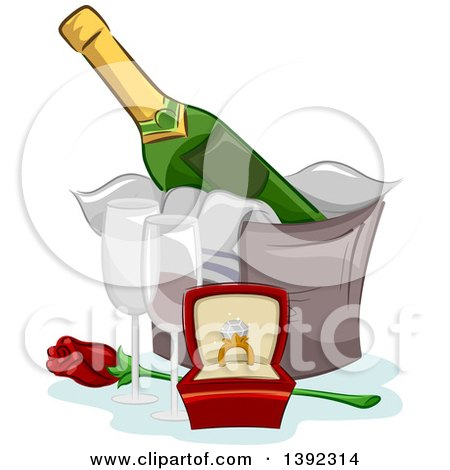 Clipart of a Diamond Engagement Ring, Champagne, Glasses and a Rose - Royalty Free Vector Illustration by BNP Design Studio