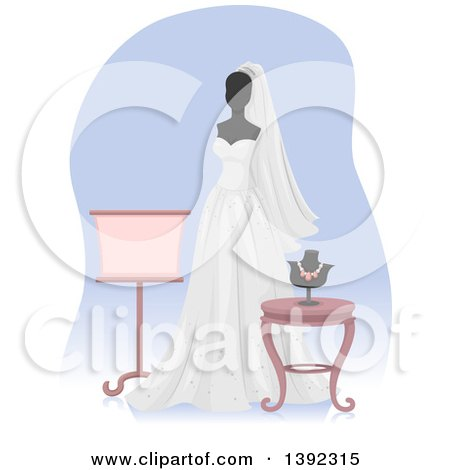 Clipart of a Wedding Gown on a Mannequin - Royalty Free Vector Illustration by BNP Design Studio